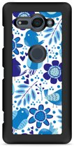 Xperia XZ2 Compact Hardcase Hoesje Blue Bird and Flowers
