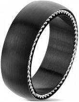 Ringen Mannen - Ring Mannen - Zwarte Ring - Ring Heren - Heren Ring - Ring - Met Speciale Zilverkleurige Kabel - Cable