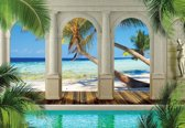 Fotobehang  Tropical Beach | XXXL - 416cm x 254cm | 130g/m2 Vlies