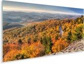 Het landschap in herfstkleuren bij de Amerikaanse Blue Ridge Parkway Plexiglas 160x80 cm - Foto print op Glas (Plexiglas wanddecoratie)