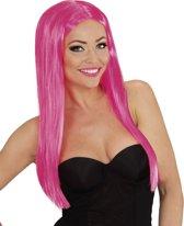 Roze glamour pruik voor dames - Verkleedpruik