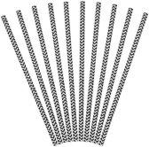 Partydeco Papieren rietjes streep zwart - 10 stuks