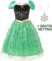 Anna Frozen jurk prinsessen jurk groen maat 120, kledingmaat 104-110 + Gratis ketting