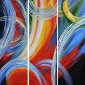 Schilderij 3 luik retro abstract 90x90 Artello - Handgeschilderd - Woonkamer schilderij - Slaapkamer schilderij - Canvas - Modern