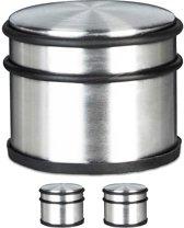 relaxdays 3 x deurstopper XL 1 kg deurstop rvs look, deurpuffer verchroomd zilver
