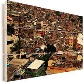 Een impressief beeld van de grootste favela van Rio de Janeiro Vurenhout met planken 60x40 cm - Foto print op Hout (Wanddecoratie)