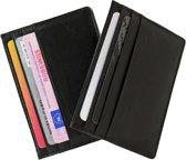 Dubbelpakket zwart Leren Creditcard houder met Steekvak voor Briefgeld / Notities.  Alle Pasjes bij de Hand. Merk Safekeepers.