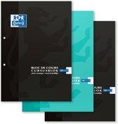 Oxford cursusblokken A4 Geruit 5mm - 2 gaats - Voordeelpakket 2+1 gratis  (3 willekeurige kleuren)