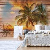 Fotobehang Rustic Tropical Beach Sunset Wood Planks | V4 - 254cm x 184cm | 130gr/m2 Vlies
