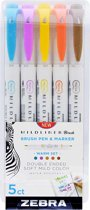 Zebra Mildliner - Brush pennen - Dubbelzijdig - Warme kleuren - Set van 5