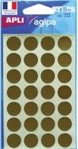 Agipa ronde etiketten in etui diameter 15 mm, goud, 112 stuks, 28 per blad