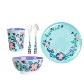 GINGER Singing with the Birds servies set - 5 delig - blauw