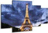 Canvas schilderij Eiffeltoren | Blauw, Grijs, Geel | 160x90cm 4Luik