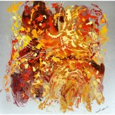 Schilderij warm abstract 100x100