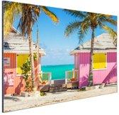 Kleurrijke strandhutjes Caraiben Aluminium 30x20 cm - Foto print op Aluminium (metaal wanddecoratie)