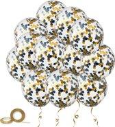 25x Helium Latex Confetti Ballonnen - Verjaardag Ballon Feest Decoratie - Feestballonnen Zwart Goud