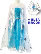 Elsa Jurk met Elsa Kroon - Prinsessenjurk met cape- Maat 116/122 (120)  - verkleed jurk