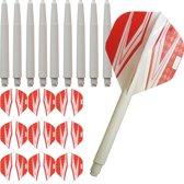 ABC Darts Flights Pentathlon - Dart flights en Medium Dart Shafts - Spitfire wit rood - 3 sets
