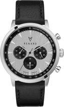 RENARD Grande Chrono Silver Black Veau Black RC402SS13VBK - Horloge - Leer - Zwart - 40 mm