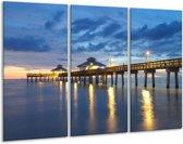 Glasschilderij Brug | Blauw, Wit, Grijs | 120x80cm 3Luik | Foto print op Glas |  F001656