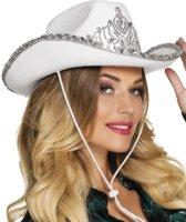 Witte cowboy prinses hoed voor vrouwen - Verkleedhoofddeksel