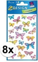 8x Vlinder stickers 3 vellen - kinder stickers