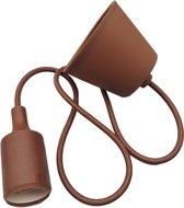 LED lamp DIY   pendel hanglamp - strijkijzer snoer   E27 siliconen fitting   chocolade