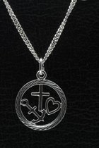 Zilveren Hoop, geloof en liefde in ring ketting hanger