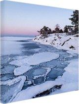 Bevroren zee Canvas 40x60 cm - Foto print op Canvas schilderij (Wanddecoratie woonkamer / slaapkamer) / Zee en Strand