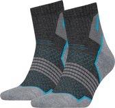 Head - Unisex 2-Pack Hiking Quarter Sokken Grijs Zwart Blauw - 43-46
