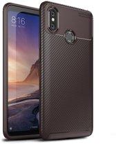 Teleplus Xiaomi Mi Max 3 Negro Carbon Silicone Case Brown hoesje