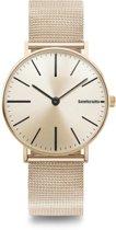 Lambretta Cesare 42 Gold Mesh - 42 mm - heren horloge - gouden band - gouden wijzerplaat - quick release - verwisselbaar bandje - 2 jaar garantie -