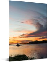 Prachtige zonsondergang bij de Pantanal Aluminium 60x90 cm - Foto print op Aluminium (metaal wanddecoratie)