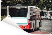 Een achteraanzicht moderne stadsbus Tuinposter 120x80 cm - Tuindoek / Buitencanvas / Schilderijen voor buiten (tuin decoratie)