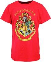Harry Potter Hogwarts Embleem Kinder T-Shirt Rood, Maat: 152