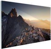 Uitzicht over de bergen Glas 180x120 cm - Foto print op Glas (Plexiglas wanddecoratie) XXL / Groot formaat!