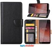 Epicmobile - Nokia 1 Plus Boek hoesje - Wallet portemonnee hoesje - Zwart