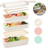 Bento Box Lunchbox Beige met bestek - Eco - Duurzaam en Milieuvriendelijk - Magnetron / Vriezer / Vaatwasser bestendig - Bio 3 lagen mealprep container - 900 ml - 3 kleuren - Beige - Groen - Roze