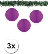 3x decoratie bal paars 10 cm - papieren kerstbal