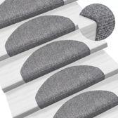 Trapmat trapbekleding mat voor trap zelfklevend plak licht grijs 65x21x4cm