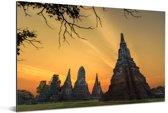 Mooie gele lucht boven Ayutthaya Aluminium 180x120 cm - Foto print op Aluminium (metaal wanddecoratie) XXL / Groot formaat!