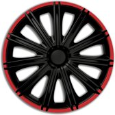 Autostyle Wieldoppen Nero 15 Inch Abs Zwart/rood Set Van 4