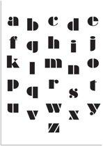 DesignClaud ABC Poster - Abstract - Alfabet poster - Kinderkamer poster Zwart wit A2 poster zonder fotolijst