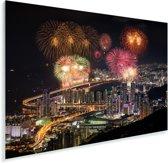 Vuurwerk boven de Zuid-Koreaanse stad Busan Plexiglas 90x60 cm - Foto print op Glas (Plexiglas wanddecoratie)