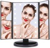 Spiegel met LED verlichting - Make-upspiegel 3 Vergrotende Spiegels - Zwart