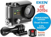 EKEN H8R 4K 30fbs + PANASONIC Chipsenor + 360VR + Wifi + Dual Screen + Afstandbediening + 23 access & 17MP foto