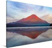 Roodgekleurde Fujiberg in Azië tijdens de ochtend Canvas 120x80 cm - Foto print op Canvas schilderij (Wanddecoratie woonkamer / slaapkamer)