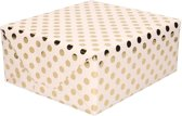 Lichtroze folie inpakpapier/cadeaupapier gouden stip 200 x 70 cm - Inpakpapier/cadeaupapier/geschenkpapier - Cadeautjes inpakken