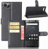 BlackBerry Keyone Hoesje Zwart met Opbergvakjes