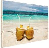 Kokosnoten Caribisch strand Hout 30x20 cm - klein - Foto print op Hout (Wanddecoratie)